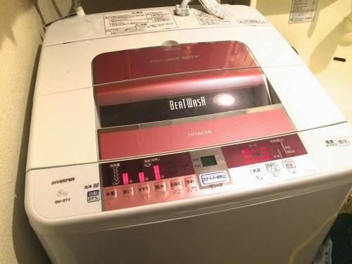 洗濯機で洗濯中