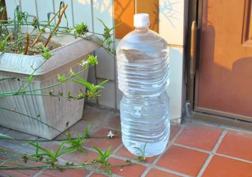 ペットボトルの水と光で猫避け