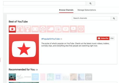 アメリカYouTubeのチャネル選択画面