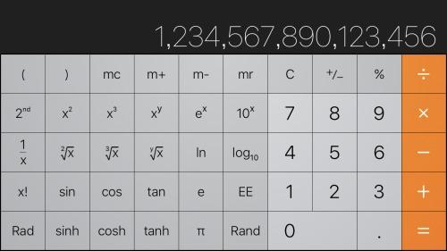 iPhone関数電卓は16桁まで対応