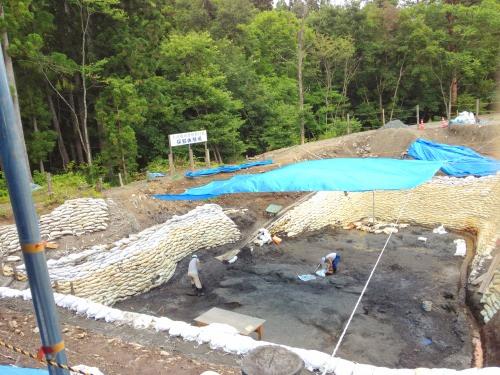 久慈市琥珀博物館の琥珀採掘現場