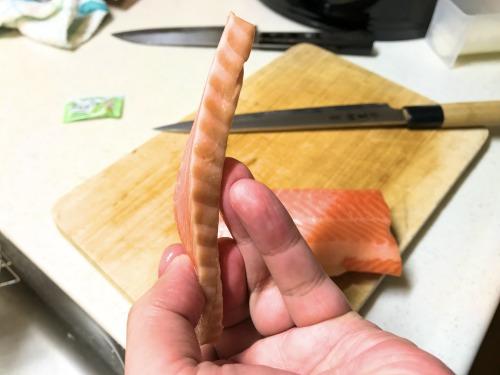 恵方巻きように切ったサーモンのお刺身
