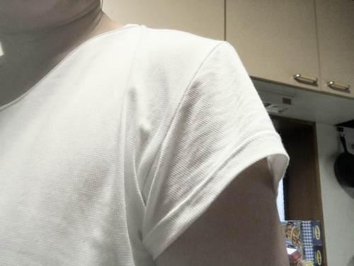 グンゼのインナーシャツ YG DRY&COOLは半袖の袖からもインナーシャツが出ない