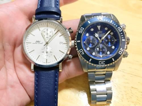 皮バンドと金属バンドの腕時計